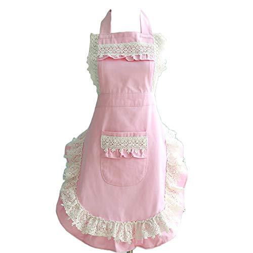 Lovely Lace Work Aprons Home Shop Kitchen Cooking Tools Gifts for Women Aprons for Christmas Gift,pink