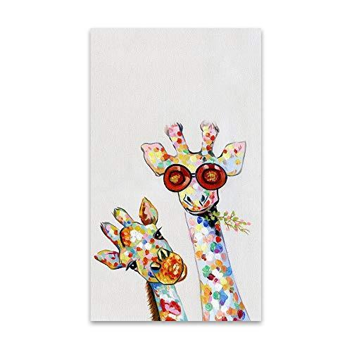 WIOIW Cartoon Animal Print Leinwand Malerei Farbige Stellen Sonnenbrille Süße Giraffe Familie Liebe Wandkunst Bild Wohnzimmer Schlafzimmer Studio Home Decoration