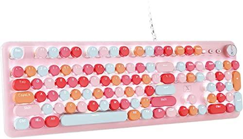 Kabellose Bluetooth-Tastatur, tragbar, 84 Tasten, kompatibel mit Android, Windows, PC, Tablet-Dark, ideal für Heim- und Büro-Tastaturen Pink rose
