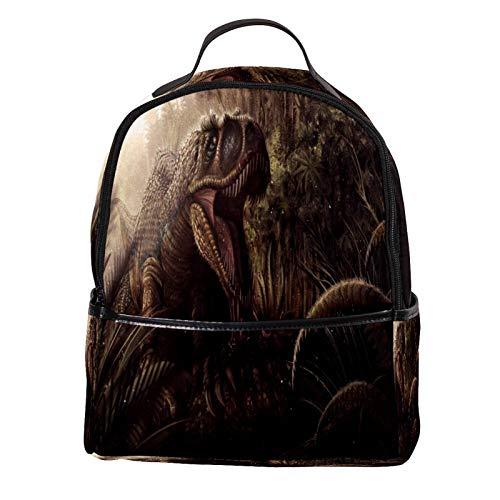 ATOMO Casual Mini Backpack Ancient Tyrannosaurus PU Leather Travel Shopping Bags Daypacks