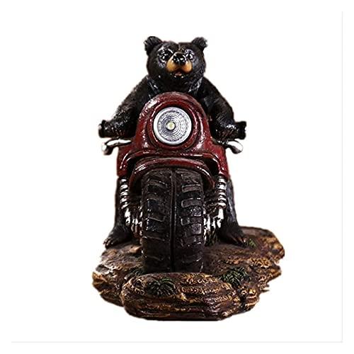 DWhui Estatua Decoración para el hogar Ornamentos de Escultura Lindo Oso Resina Motor Animal Crafts Modelo Modelo de Escritorio con Luces Oficina Accesorios Figuras Regalos