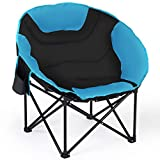 Giantex Folding Camping Chair Moon Saucer Chair Lightweight Sofa Chair Round Beach Chair with Soft Padded Seat, Cup Holder, Back Bag and Metal Frame Chairs for Hiking, Camping, Fishing or Picnic