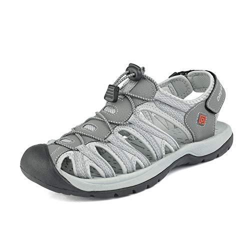 DREAM PAIRS Men's 160912-M-NEW Grey Black Adventurous Summer Outdoor Sandals Size 13 M US