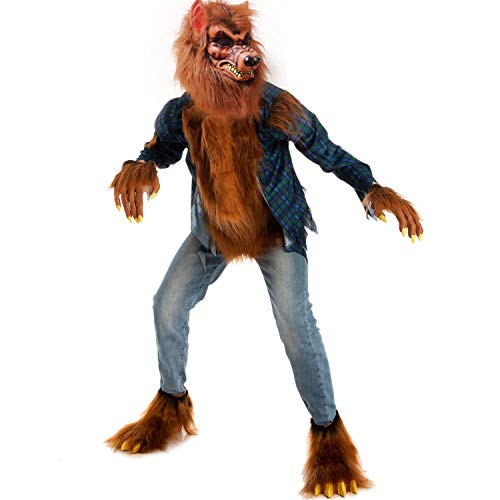 Spooktacular Creations Child Unisex Madness Werewolf Costume for Kids Halloween Party (L) Brown