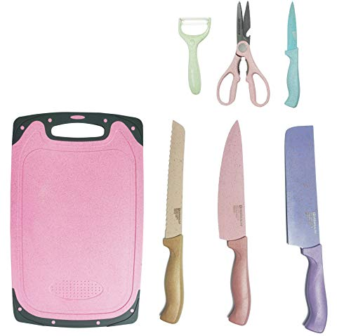 Kitchen Knife Set Stainless Steel Wheat Stalk Kitchen Knives 7 Piece-Chef's Bread Paring Knife Small Cleaver Peeler Scissors,with Cutting Board, Sharp, Anti rust, Knives Set for Kitchen (Multi color)