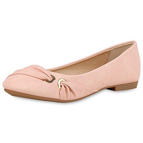 SCARPE VITA Klassische Damen Ballerinas Leder-Optik Flats Freizeit Schuhe 160367 Rosa 38