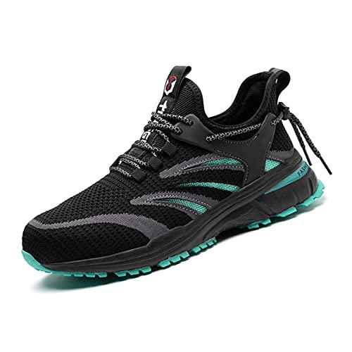 Aingrirn Sicherheitsschuhe Herren Arbeitsschuhe Damen Sommer Leicht Atmungsaktiv Sportlich Schutzschuhe Outdoor Stahlkappe Sneaker (Color : Green, Size : 39 EU)