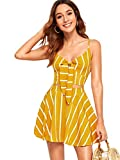 Floerns Women's 2 Piece Outfit Striped Tie Front Crop Top and Skirts Set Yellow M