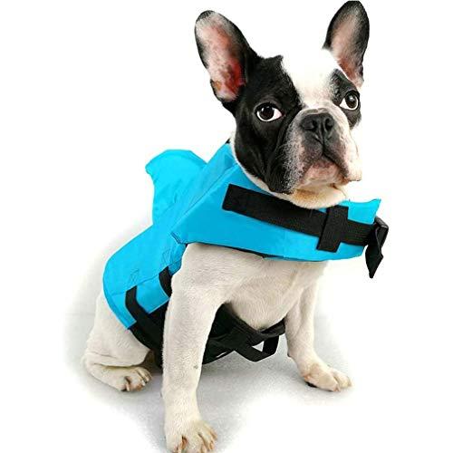 WWXXCC Hundeschwimmwesten, Hundeschwimmweste mit Haifischflosse Schwimmen Schwimmweste für Haustier mit verstellbaren Trägern Kleidung Französisch Bulldog Fin Jacke Spielen im Meer,Blau,XL