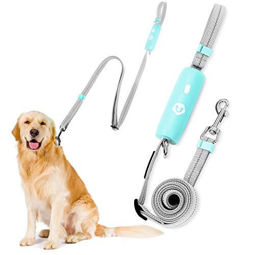 Hundeleine, Führleine Schleppleine für Hunde bis zu 30 KG Leichte Trainingsleine Hund Leine Verstellbar Reflektierend, Per Knopfdruck Einfach Freigaben(Grün)