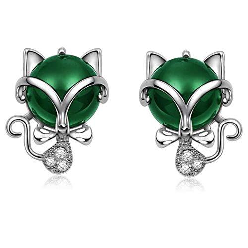 ZNYH 925 Sterling Silber Ohrstecker Tier kleine Fuchs Ohrringe grün