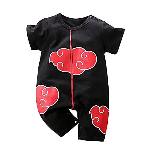 Ropa para recién nacidos Cosplay Vestido Print Medias Bebé Niños Niñas Anime Monos Cartoon Lovely Romper (negro), Mangas cortas negras., 1 mes