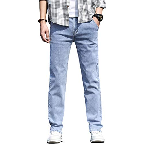 Beastle Men's Jeans Summer Thin Straight Loose Trendy Stretch Light Casual Denim Trousers 31W Blue