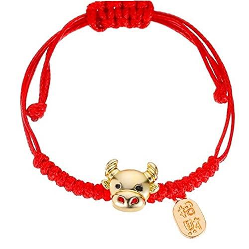 Froiny Joyería De Pulsera Roja 1pc Buey Chino del Zodiaco Animal Brazalete Hecho a Mano Amuleto Suerte Amistad