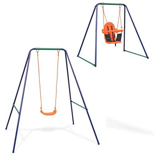 vidaXL Columpio para Niños Pequeños y para Bebés 2 en 1 con Asiento Juguete Parque Infantil Acero y Plástico Naranja