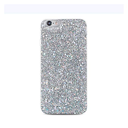 Glqwe Luxury Shinning Glitter Cases para iPhone 12 Mini Pro MAX 6 7 8 11 S Plus X S XR MAX MAX Soft The Heart Silicon TPU Fundas (Color : Silver, Material : For iPhone 7s)