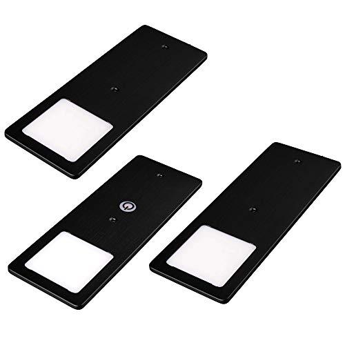 kalb | LED Unterbauleuchten schwarz 5W- sehr flache Küchenleuchte mit Touch-Dimmfunktion Einbaustrahler Einbauspot, Auswahl:3er Set warmweiss