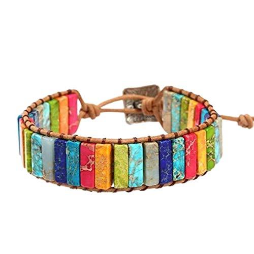 7 Chakra Bracelet Adjustable Bohemian Jewellery Braided Bracelets Handmade Chakra Stone Healing Crystal Jewelry for Girls Costume Jewelry
