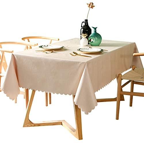 Waterdicht pvc-tafelkleed, oliebestendig, vlekbestendig, vinylrechthoek, tafelkleed, afwasbaar, tafelhoes voor binnen en buiten, beige, 55 x 70 inch
