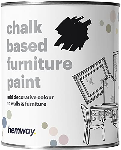 Hemway Black Chalk Based Furniture Paint Matt Finish Wall and Upcycle DIY Home Improvement 1L / 35oz...