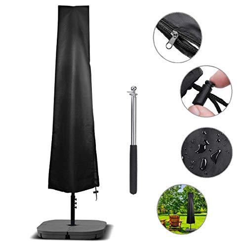 NASUM Schutzhülle für Ampelschirme Sonnenschirmhülle Abdeckhauben für Sonnenschirm für Schirm 2 bis 4 m Abdeckung mit Reißverschluss und Zugkordel Schirmhülle schwarz (190 x 30 x 50cm)