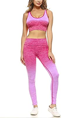 Women's Active Ombre Sports Bra and Leggings Performance Set