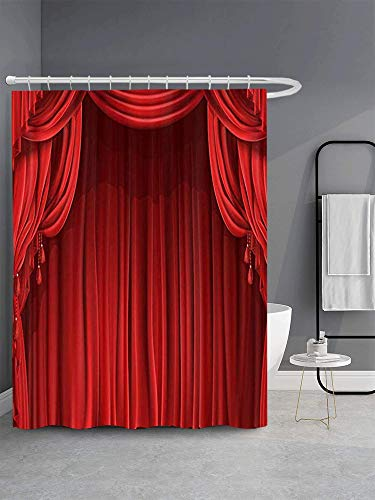 GETTOGET Theatre Shower Curtain, Show Stage Curtains Classic Antique Red Curtains Background, Waterproof Polyester Curtain Festival Gift, 72x72 in