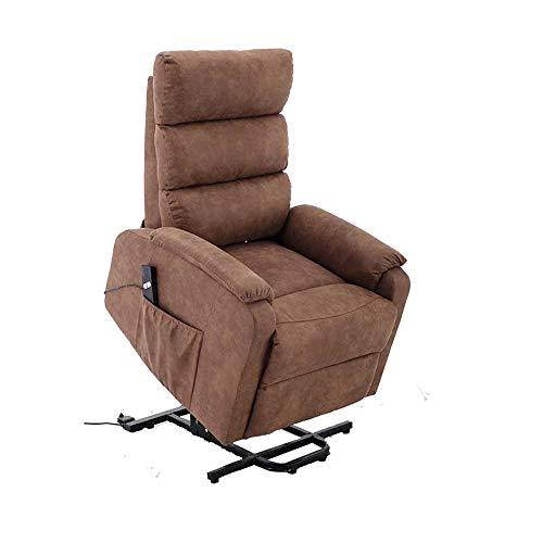 MOMMA HOME Sillón Levanta Personas con Sistema reclinable - Tapizado de Tela Color Marrón - Ideal para Personas Mayores o con Movilidad Reducida - Modelo Tanger - Medidas - 75 x 93 x 98 cm