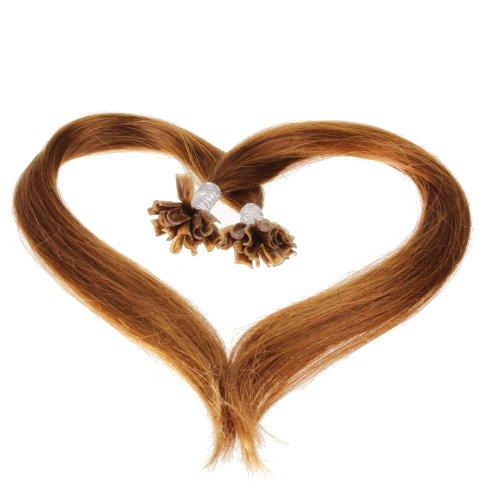 Just Beautiful Hair and Cosmetics Lot de 200 extensions de cheveux naturels Remy Hair avec points de kératine pour pose à chaud Châtain (30) 60 cm