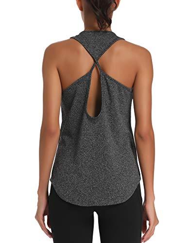 Aeuui Womens Workout Tops Cute Gym Clothes Running Yoga Shirts Grey