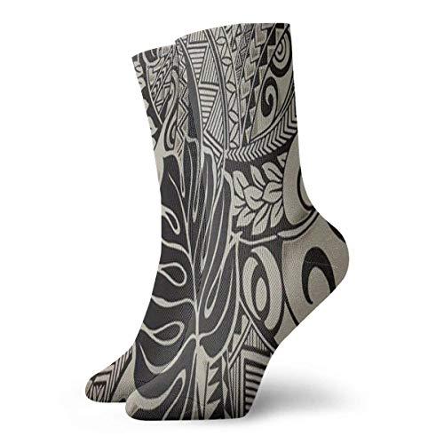 Fabric Polynesian Tattoo Women Men Casual Printed Funny Crew Socks Ankle Socks