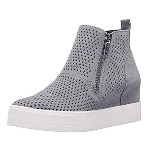 Minetom Zapatos con Cordones, Botas de Mujer, Punta Redonda de Color Sólido,...