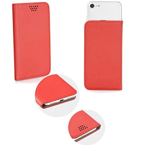 Supercase24 für HomTom HT5 Book Hülle Klapp Cover Schutzhülle Etui Handytasche Flip mit Smart Magnet in rot