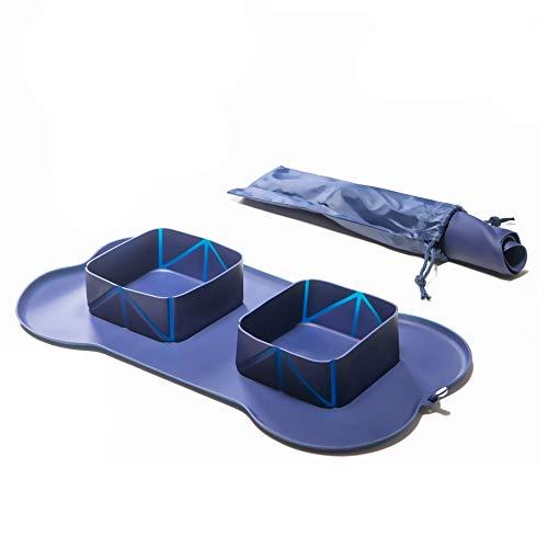 BenniCamp® Reisenapf   2 x 600 ml   Futterschüssel für Urlaub + Unterwegs   Zusammenrollbar für kleine Packmaße   Blau