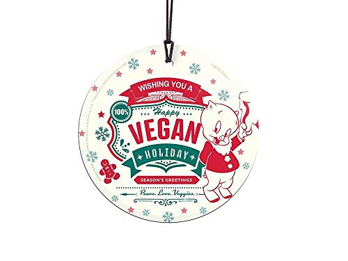 "Trend Setters Looney Tunes – Porky Pig – Happy Vegan Holiday – Peace. Love. Veggies. - Christmas - 3.5"" Starfire Prints Hanging Glass Accessory - Ideal for Gifting and Collecting Ltd."