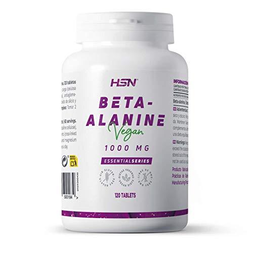 Beta Alanina 1000 mg de HSN | 4g por Dosis Diaria | Suplemento para Deportistas, CrossFit, Atletismo, Fitness, Mejora el Rendimiento Deportivo | Vegano, Sin Gluten, Sin Lactosa, 120 Tabletas