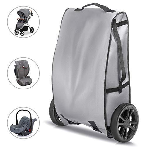 Zamboo Universal Transporttasche für Buggy, Kindersitz und Babyschale - Schutz Reisetasche für Autositz/Kinderwagen Transport in Flugzeug oder Auto - Grau