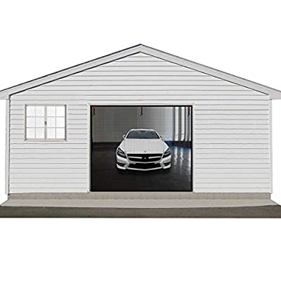Garage Door Screen, Car Door Net Mesh Garage Screen Cover Kit Garage Door Curtain for Block Bug Mosquitoes