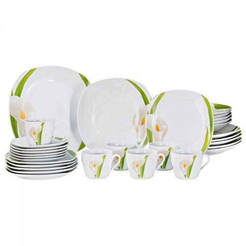 Van Well Kombiservice Calla 30-TLG. für 6 Personen, Tafel-Geschirr + Kaffee-Service, weiße Blüte, Pflanzendekor, edles Porzellan-Geschirr, Gastro