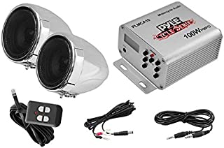 Pyle Motorcycle Two 3 Inch Speakers, 100 Watt, All-Terrain, Weatherproof Speaker and Amplifier Sound System, Handlebar Mount, FM Radio for ATV, Snowmobile, Scooter, Boat, Waverunner, Jetski (PLMCA10)