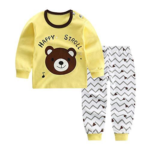 Jimmackey Neonato Unisex Pigiama Cartone Animato Anatra Stampa T-Shirt Manica Lunga Camicia + Pantaloni Costume Set