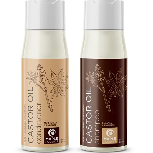 Castor Oil Shampoo and Conditioner Set - Black Castor Oil Shampoo and Biotin Collagen Keratin Conditioner for Scalp Care - Volumizing Shampoo and Conditioner for Fine Hair Care and Dry Scalp Treatment