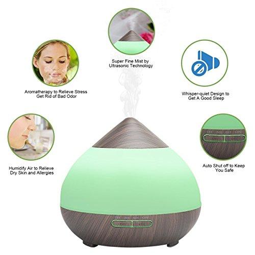 H&L Ätherisches Öl-Aroma-Diffusor, Aromatherapie Feuidifier Ultraschall stumm bunten LED-Zerstäuber Klimaanlage Befeuchter Holzkorn,Brown
