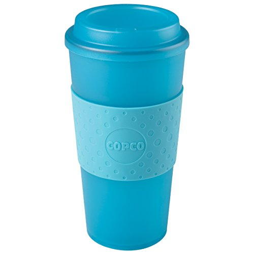 Copco Acadia Double Wall Insulated Travel Mug with Non-Slip Sleeve, 16-Ounce, Translucent Teal