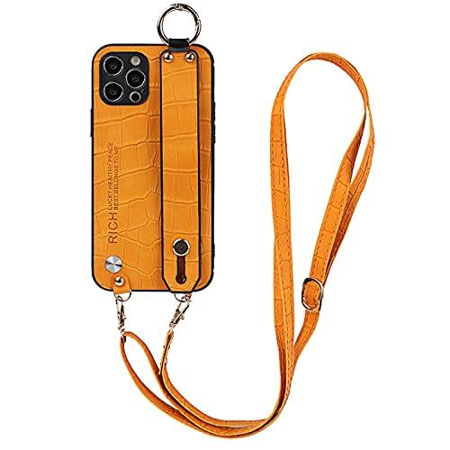 Hadwii - Carcasa compatible con iPhone 8 Plus, iPhone 7 Plus, funda con cordón de collar, piel sintética, funda con correa de soporte antigolpes, antiarañazos, TPU con correa ajustable, color naranja