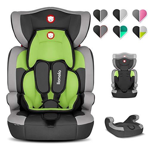 Lionelo Levi One kinderzitje 9-36 kg kinderzitje auto in hoogte verstelbare verdiepde hoofdsteun zijdelingse bescherming afneembare rugleuning stoelverkleiner 5-punts riem (groen)