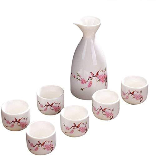 PIVFEDQX Juego De Sake De Cerámica Resistente A Altas Temperaturas Juego De 7 Copas De Vino De Cerámica con Diseño De Flor Simple Familiares Y Amigos
