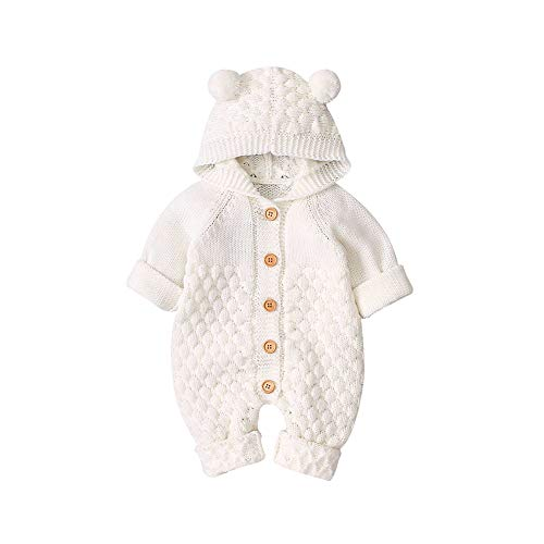 VICROAD Baby Strampler mit Kapuze Neugeborene Mädchen Jungen Gestrickte Onesies Warme Pullover Overall Outfits