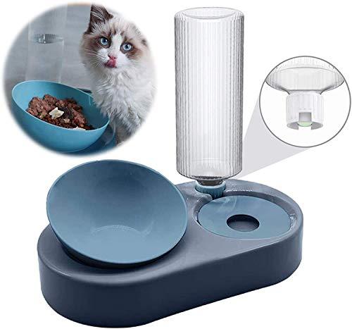 BOW CALICO Doppelte Katzennäpfe, Futternapf und Automatischer Wasserspender für Katzen und Hunde, Futterspender & Automatischer Wassertränker im Set für Haustier Katze und Kleine oder Mittelgroße Hund
