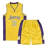 Maglia da basket per bambino adulto, Lakers Lebron James 23 Swinger Jersey, Maglie da basket Completi estivi Kit Top + Short-yellow-XL
